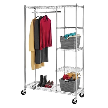 Whitmor Rolling Garment Shelves Rack, Chrome