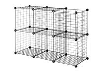 Whitmor Collapsible Wire Storage Cubes, Black, 6/Set