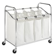 "Whitmor 36""(H) x 20""(W) x 33""(D) 4 Section Laundry Sorter With Wheels, Chrome"