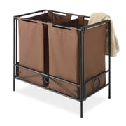Whitmor Wrought Iron Folding Double Hamper, Java