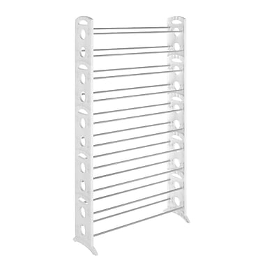 Whitmor 50 Pairs Floor Shoe Tower Storage Rack, White