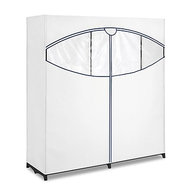 Whitmor Polypropylene Extra Wide Garment Rack, White/Blue Trim