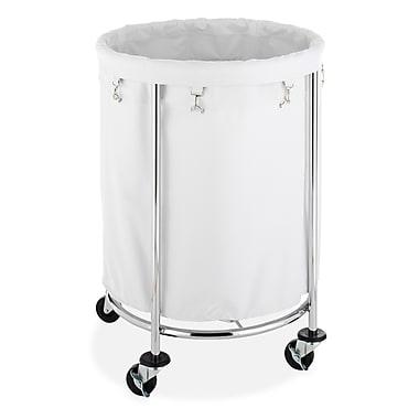 Whitmor Commercial Round Laundry Hamper, Chrome