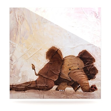 KESS InHouse The Elephant w/ the Long Ears by Rachel Kokko Painting Print Plaque; 8'' H x 8'' W