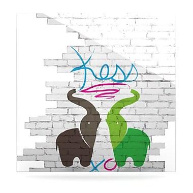 KESS InHouse Elephants by Original Graphic Art Plaque; 8'' H x 8'' W