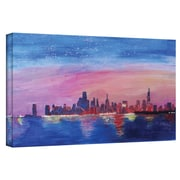 "ArtWall ""Chicago Sunset Blue"" Gallery Wrapped Canvas Arts By Martina and Markus Bleichner"