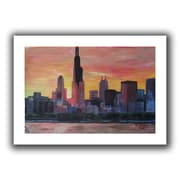 "ArtWall ""Chicago Sunset Red"" Flat Unwrapped Canvas Art By Martina and Markus Bleichner, 16"" x 24"""