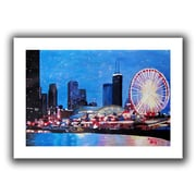 ArtWall Chicago Wheel Flat Unwrapped Canvas Art By Martina and Markus Bleichner, 12 x 18