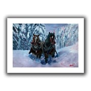 ArtWall Winter Sled Flat Unwrapped Canvas Art By Martina and Markus Bleichner, 24 x 36