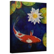 """ArtWall """"Kohaku Koi and Water Lily"""" Gallery Wrapped Canvas Art By Michael Creese, 18"""" x 14"""""""