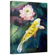 """ArtWall """"Koi and Lotus Flower"""" Gallery Wrapped Canvas Arts By Michael Creese"""
