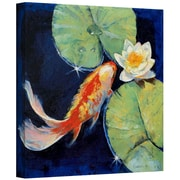 "ArtWall ""Koi and White Lily"" Gallery Wrapped Canvas Arts By Michael Creese"