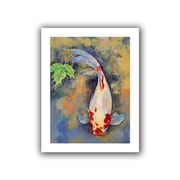 "ArtWall ""Koi with Japanese Maple Leaf"" Unwrapped Canvas Art By Michael Creese, 18"" x 14"""