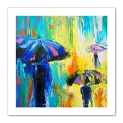 "ArtWall ""Turquoise Rain"" Unwrapped Canvas Arts By Susi Franco"