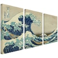 ArtWall in.The Great Wave Off...in. 3 Piece Gallery Wrapped Canvas Arts By Katsushika Hokusai