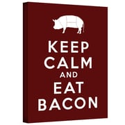 """ArtWall """"Keep Calm and Eat Bacon"""" Gallery Wrapped Canvas Art By Art D. Signer, 18"""" x 24"""""""