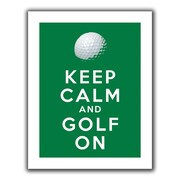 "ArtWall ""Keep Calm and Golf On"" Flat Unwrapped Canvas Art By Art D. Signer, 36"" x 48"""