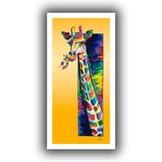 "ArtWall ""Giraffe Eating"" Flat Unwrapped Canvas Arts By Linzi Lynn"