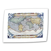 "ArtWall ""Typvs Orbis Terrarvm Antique Map"" Unwrapped Canvas Art, 16"" x 24"""