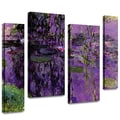 ArtWall in.Lavender Water Liliesin. 4 Piece Gallery Wrapped Canvas Arts By Claude Monet