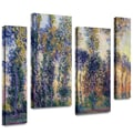 ArtWall in.Poplars at Givernyin. 4 Piece Gallery Wrapped Canvas Arts By Claude Monet