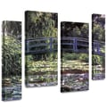 ArtWall in.Japanese Bridgein. 4 Piece Gallery Wrapped Canvas Arts By Claude Monet