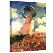 """ArtWall """"Woman with Sunshade"""" Gallery Wrapped Canvas Arts By Claude Monet"""