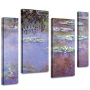 """ArtWall """"Sea Roses II"""" 4 Piece Gallery Wrapped Canvas Art By Claude Monet, 36"""" x 48"""""""