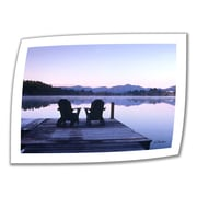 ArtWall Mirror Lake, Lake Placid Two Chairs on White Unwrapped Canvas Art By Linda Parker, 14 x 18
