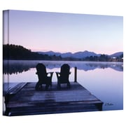 ArtWall Mirror Lake, Lake Placid Two Chairs Gallery Wrapped Canvas Art By Linda Parker, 36 x 48