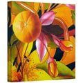 ArtWall in.Lemons on Persimmon Pink Flowerin. Gallery Wrapped Canvas Arts By Marina Petro