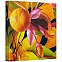 ArtWall Lemons on Persimmon Pink Flower Gallery Wrapped