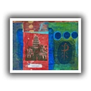 """ArtWall """"Gold Blue Banner"""" Unwrapped Canvas Art By Elena Ray, 12"""" x 24"""""""