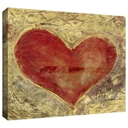 "ArtWall ""Red Heart on Gold"" Gallery Wrapped Canvas Art By Elena Ray, 16"" x 24"""