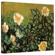 """ArtWall """"Wild Roses"""" Gallery Wrapped Canvas Art By Vincent Van Gogh, 36"""" x 48"""""""