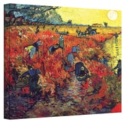 "ArtWall ""Red Vineyard at Arles"" Gallery Wrapped Canvas Art By Vincent Van Gogh, 18"" x 24"""