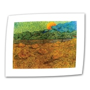 ArtWall Evening Landscape with Rising... Flat/Rolled Canvas Art By Vincent Van Gogh, 36 x 48
