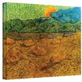 ArtWall in.Evening Landscape with Rising...in. Gallery Wrapped Canvas Arts By Vincent Van Gogh