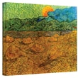 ArtWall in.Evening Landscape with Rising...in. Gallery Wrapped Canvas Art By Vincent Van Gogh, 24in. x 32in.