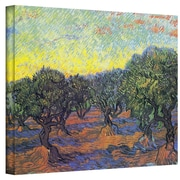 "ArtWall ""Olive Grove With Yellow Sky"" Gallery Wrapped Canvas Arts By Vincent Van Gogh"