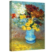 """ArtWall """"Flowers in a Blue Vase"""" Gallery Wrapped Canvas Art By Vincent Van Gogh, 14"""" x 18"""""""