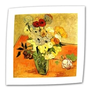 """ArtWall """"Japanese Vase with Roses and..."""" Flat/Rolled Canvas Art By Vincent Van Gogh, 36"""" x 48"""""""