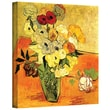 ArtWall in.Japanese Vase with Roses and...in. Gallery Wrapped Canvas Art By Vincent Van Gogh, 14in. x 18in.