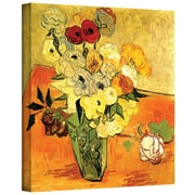 ArtWall Japanese Vase with Roses and... Gallery Wrapped Canvas Art By Vincent Van Gogh, 24 x 32