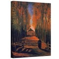 ArtWall in.Avenue of Poplars in Autumnin. Gallery Wrapped Canvas Arts By Vincent Van Gogh