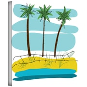 ArtWall Beach Day Palms II Gallery Wrapped Canvas Art By Jan Weiss, 14 x 14