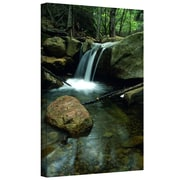 ArtWall Waterfall in The Woods Gallery Wrapped Canvas Art By Kathy Yates, 32 x 48