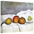 ArtWall in.Fruit on a Clothin. Gallery Wrapped Canvas Arts By Paul Cezanne