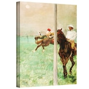 "ArtWall ""Jockeys Before The Race"" Gallery Wrapped Canvas Arts By Edgar Degas"