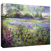 """ArtWall """"Trackway Past The Iris Field"""" Gallery Wrapped Canvas Art By Timothy Easton, 26"""" x 32"""""""